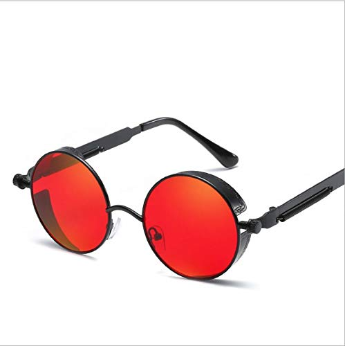 Runde Steampunk Sonnenbrille Männer Frauen Mode Spiegel Gläser Markendesigner Retro Brillengestell Vintage Sonnenbrille UV400 (Color : Black red)
