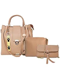 TYPIFY® 3 Pcs. Combo Leatherette Handbag, Sling Bag, Chain Wallet for Women and Girls College Office Bag, Stylish latest Designer Spacious Shoulder Bag Purse. Gift for Her
