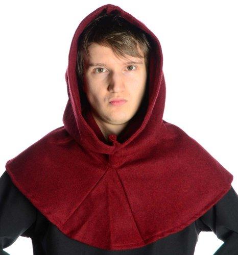 Media età cappuccio percora woll vestito medievale in feltro nero-marrone-rosso-verde-beige Rosso