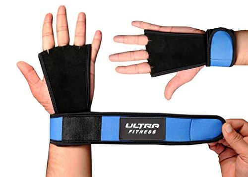 Foto de Ultra Fitness® - Protectora para manos, para crossfit, agarres de piel con soporte para muñecas, muñequera para levantamiento de pesas, mancuernas, con cierre de velcro, muñequera de velcro, 2 en 1, muñequera y protección de la palma de la mano, azul mari