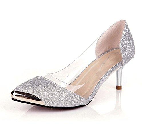 Wealsex damen Pumps spitze high heels Silber