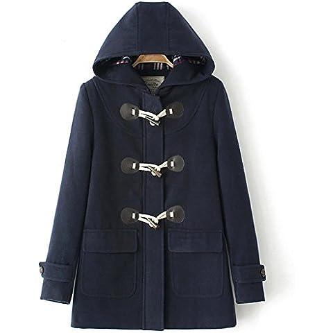 YUYU Damas moda lana gruesa capa térmica suave Casual manga larga , navy blue , m