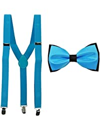 KYLON Sky Blue Y-Back Suspender With Bow Tie Combo For Men