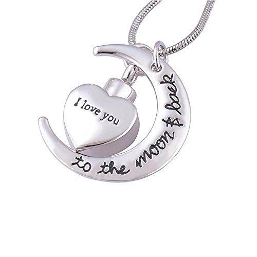 """Collar con diseño de luna y corazón que puede abrirse para guardar cenizas, inscripción """"I Love You To The Moon & Back"""""""
