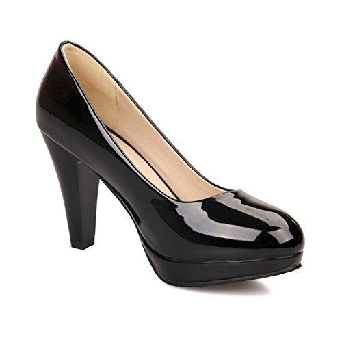 BalaMasa Damen Ziehen Auf High Heels massivem Pumpen Schuhe, Schwarz - schwarz - Größe: 38 (Verkauf Glas-slipper Für)