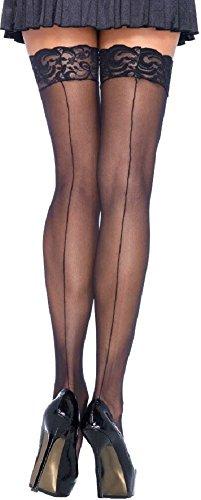 Leg Avenue plus size Damen halterlose Strümpfe mit Naht hinten und Spitzenabschluss schwarz transparent Einheitsgröße ca. 42