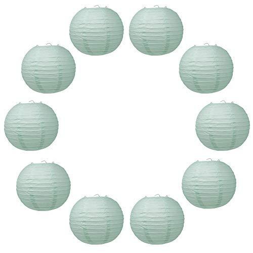 Simuer - Linternas de papel redondas, 10 unidades, para colgar, diseño chino, para cumpleaños, bodas, fiestas, decoración, color azul claro, 30,5 cm