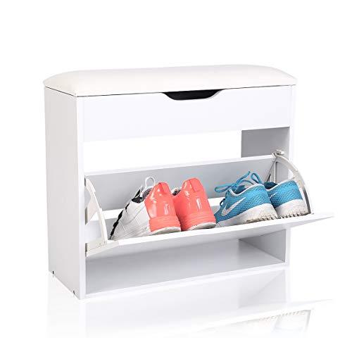 Maimaiti scarpiera panca bianca ,scarpiera panca in legno con cuscino pelle,per 4-6 paia di scarpe,bianco , 60cm x 24cm x 55 cm