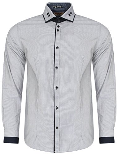 b4ef4462b0fa21 Tokyo Laundry Herren Deniro Fein Streifen Langarm Collared Shirt Größe S-XXL  Marine