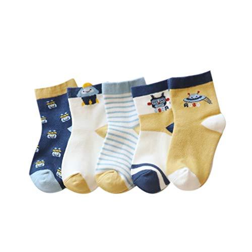 5 Paar Baby Socken Unisex Kleinkind Baumwolle Stulpen Karikatur Dicke Thermosocken Babysocken Neugeborenes, Erstlingssöckchen, Anti Rutsch Socken Baby 0-12 Jahren (1-3 Jahren, Roboter)