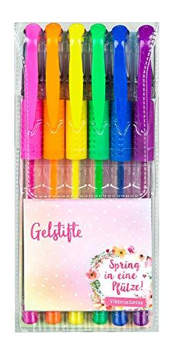 Undercover GmbH VSIN0192.Z - Lápices de Gel con diseño Viktoria Sarina, 6 Unidades, con Colores Rosa, Naranja, Amarillo, Verde, Azul y Violeta