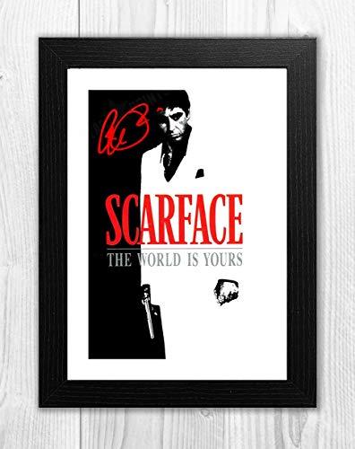 Engravia Digital Al Pacino Scarface (2) Reproduktion Signatur-Filmposter, Foto, A4 Schwarzer Rahmen (Signatur-foto-rahmen)