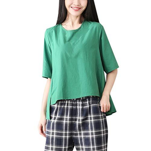 FOTBIMK Frauen Einfarbig Baumwolle Und Leinen Lose Oansatz Kurzarm T-Shirt ()