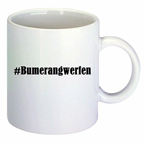 Kaffeetasse #Bumerangwerfen Hashtag Raute Keramik Höhe 9,5cm ⌀ 8cm in Weiß