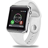 GBVFCDRT Hombres Mujeres Reloj Smart Watch Bluetooth Soporte Tarjeta Sim Deporte Podómetro Reproductor de música Smartwatch para Android iOS, Blanco