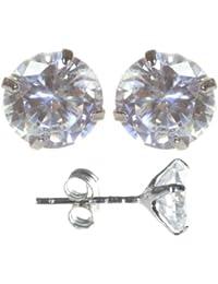 Klassische 925 Sterling Silber Damen - Paar Ohrstecker mit Zirkonia - 4mm*4mm