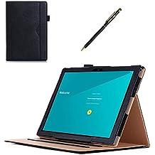 Google Pixel C Caso, ProCase Folio Caso cubierta de pie de cuero para 2015 Google Pixel C Tablet 10.2 pulgada, con múltiplos ángulos de visión, auto dormir/despertar, bolsillo de tarjeta de documento (Negro)