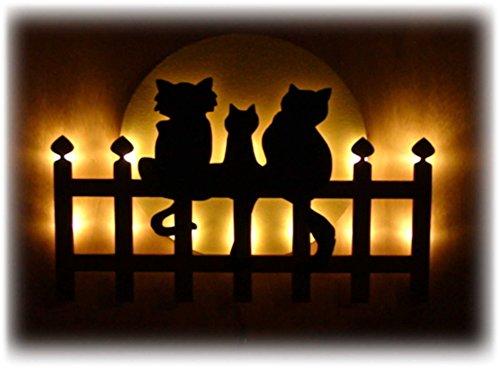 Schlummerlicht24 3d Motive Led Figuren Cat's on Fence Katzen Mond Nacht-Lampe Schwarz Geschenke für Männer Frauen Mädchen Wohnzimmer Schlafzimmer Kinderzimmer Dekoration Accessoires Zubehör