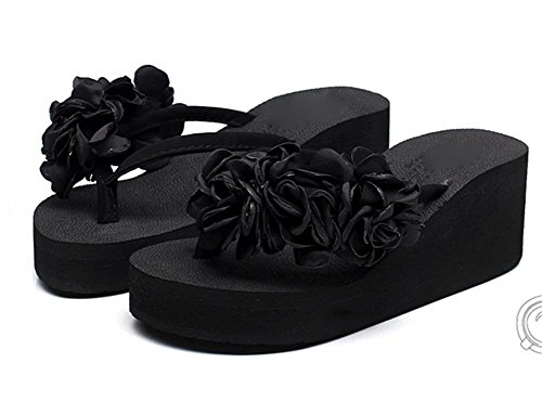 pengweiDamen Sandalen Mode Blumen Strand Schuhe rutschfeste Clip F¨¹?e High Heel Flip-Flops 2