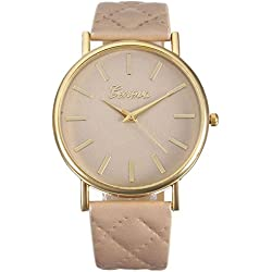 WINWINTOM Women Roman Leather Quartz Wrist Watch Beige