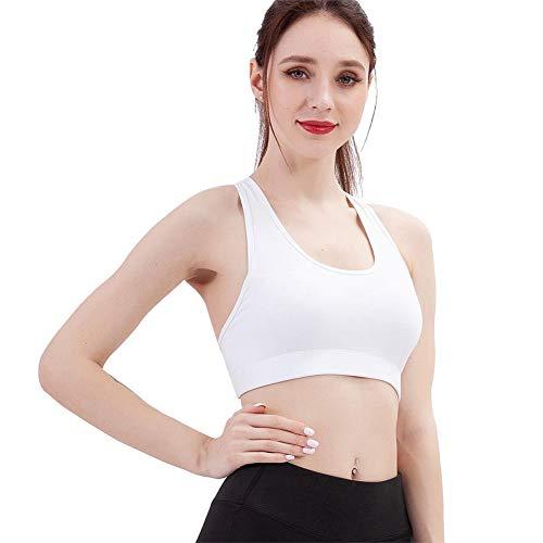 AFfeco Frauen Brief Drucken Sport BH Tops Pad Yoga Fitness Sportswear (Weiß M)