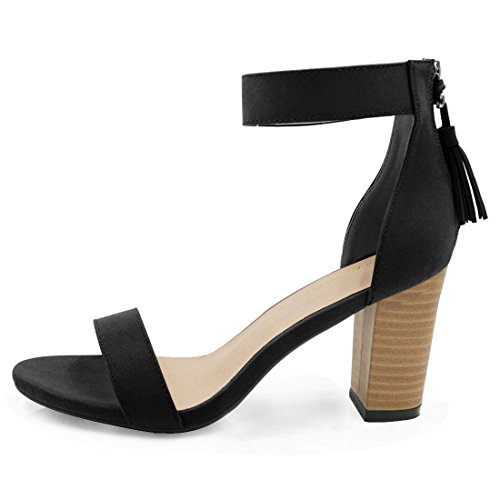 Allegra K Open femmes Gland Toe sandales bride talon empilé Black