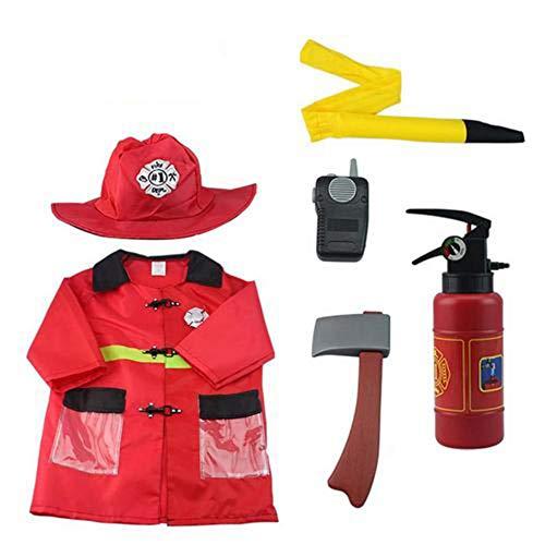 ckground Kinder Feuerwehrmann Kostüm, Feuerwehrmann Dress Up Set, Feuerwehrmann Outfit, Rollenspiel Rollenspiel Feuerwehrmann Spielzeug Geschenke für Geburtstag Halloween Urlaubsparty, 6 Stück