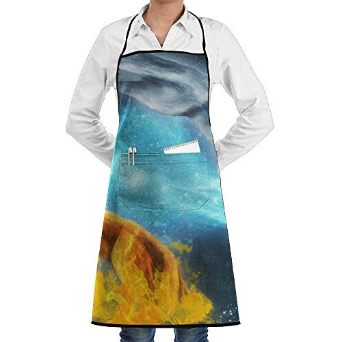 chürze kochtn, Bib Apron with Pockets Yin-Yang White and Orange Wolf Durable Cooking Kitchen Aprons ()