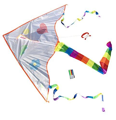 Toller Kinder-Drachen zum selbst bemalen inclusive Schnur und 4 Stiften | Drachenflieger | Kinderdrachen | Individueller Drachen | Drache zum selber Basteln | Kindergeburtstag | Basteln für Kinder molinoRC® BRD