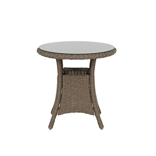 greemotion Table d'appoint de jardin Garda – Table bistrot ronde 60 cm - Table de jardin résine tressée, alu et verre trempé – Petite table de jardin 2 personnes - Table extérieur design inoxydable
