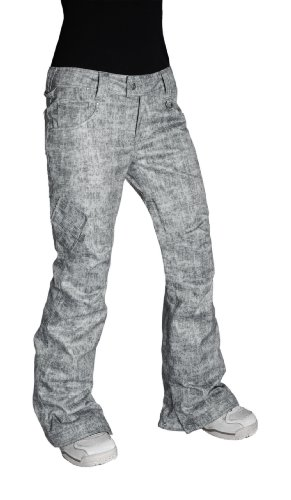 Betty Rides Damen Acid Wash Skinny Jean Snowboard/Ski-Hosen, damen, Acid Grey (Jeans-snowboard-hose)