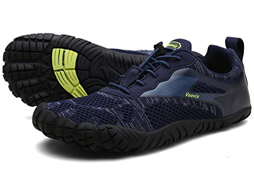 Voovix Herren Damen Barfußschuhe Fitnessschuhe Laufschuhe Minimalistische Traillaufschuhe Trekkingschuhe Wanderschuhe Outdoor Sneaker im Sommer Blau46