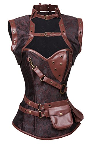 Charmian Women's Steampunk Steel Boned Brocade High Neck Corset with Jacket Buckles-brown Large (Check-snap-design)