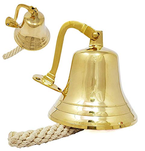 Nacpy Metal Tea Hand Bell Plated Hand Held Loud Call Service Bell Alarm Classic Traditional School Hand Bell Gold