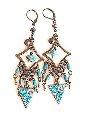 Boucles d'oreilles, pendants, bohême, gypsy, tons bleu turquoise, bronze, fait mains