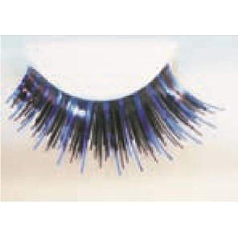 Eye Lash Set divertente Nero e blu - Bald Head Costume