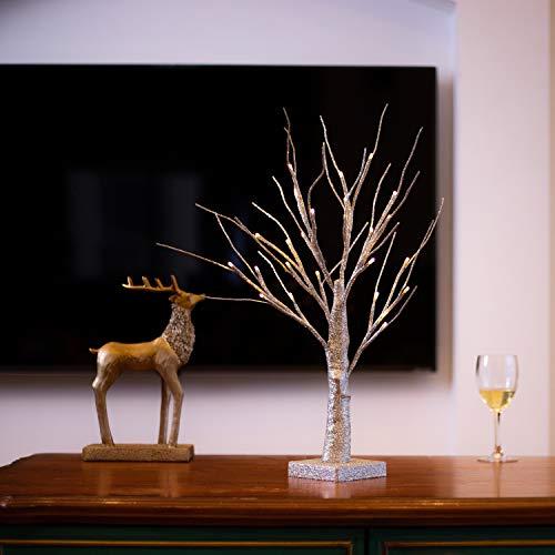 Bling Birke Nachtlicht Baum Lampe Jewelry Halter Mittelpunkt 45cm 24L tolle Dekoration für Haus/Weihnachten/Party/Festival/Hochzeit Art Deco Silber ()
