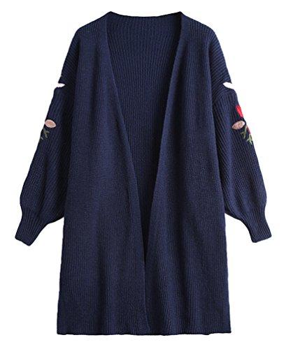 Anguang Donna Manica Lunga Larghi Aperto Cardigan Maglia Cappotto Maglione Delle Marina Militare