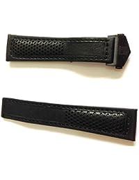 22/18mm reloj correas de cuero negro/negro perforado estilo con naranja Costuras para que se ajuste a TAG Heuer