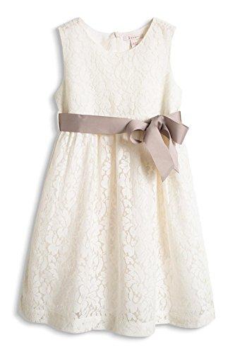 ESPRIT Mädchen Kleid mit Spitze, Gr. 128 (Herstellergröße: 128/134), Weiß (OFF WHITE 110)