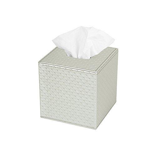 JackCubeDesign Quadratischer Tissue Box Cover Halter Hülle Kleenex Cover Halter Box Serviettenhalter Organizer Ständer (Silber, 13,7 x 13,7 x 14,2 cm) -: MK272C