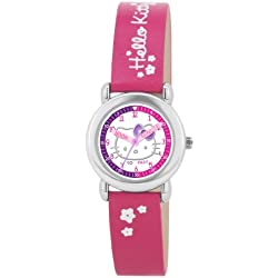 Hello Kitty Children's Quartz Watch with White Dial Analogue Display and Pink PU Strap HK024