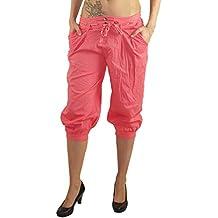 MODA Made in Italy Kurze Blickdichte Damen Sommerhose Haremshose mit  elastischem Bund und modischen Stoffgürtel Pluderhose 9eb4df4fb5