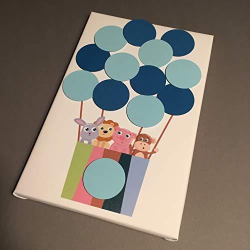 Pastelltiere Ballon Leinwand ideales Geschenk, Gästebuch, Erinnerung, Deko, Idee, Andenken zur Geburt, Taufe, Babyparty, Baby Shower in Blau für Junge