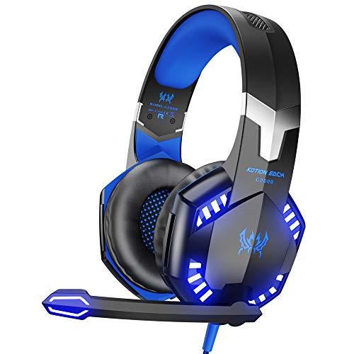 VersionTECH. Auriculares Gaming Cascos PS4 con Microfono, Diadema Ajustable, Bass OverEar 3,5mm Jack, Luz LED, Control de Volumen, Bajo Ruido para PS4/Xbox One/Nintendo Switch/PC/Móvil (Azul)