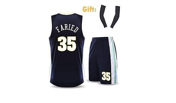 CCKWX Mens Denver Nuggets Jersey Kenneth Faried #35 Embroidered Basketball Sport Swingman Jersey Sleeveless Sport Vest+Shorts,2XL:175cm//60~70kg