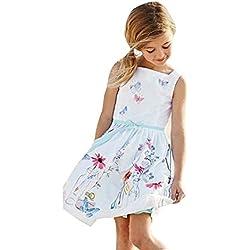 Niña princesa vestido,Sonnena ❤️ ❤️ ❤️ Bohemian floral impresión vestido de Verano Primaver de playa hombro desnudo ropa de Deportes al aire libre de casual y elegante estilo para chica joven (BLANCO, 4 años)