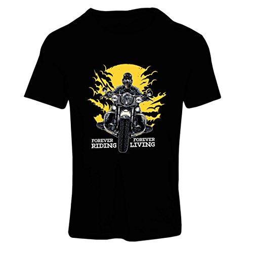 Frauen T-Shirt für Immer reiten, für Immer Leben - Motorradslogans, Motorrad-Zitate, Radfahrer-Geschenk-Ideen (Medium Schwarz Mehrfarben)