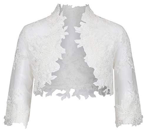 Nina Brautmoden Bolero Jacke aus Spitze für Kommunion/Kommunionkleid - K-106 (158, weiß)