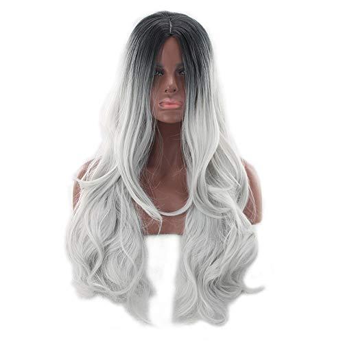 Damen Frauen Perücke Ombre Hitzeresistente Synthetik Wavy Langhaarperücke Welle Gelockt Hairs Cosplay Perücke Haare Haarersatz Für Damen Party Cosplay,B,28Inch
